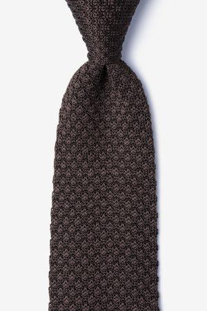 kötött nyakkendő_barna_selyem
