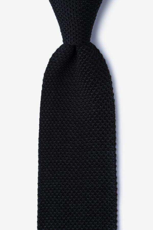 kötött nyakkendő_fekete_selyem