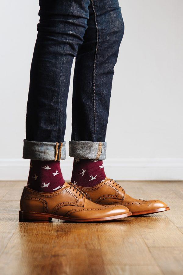 mintás zokni_piros_férfi