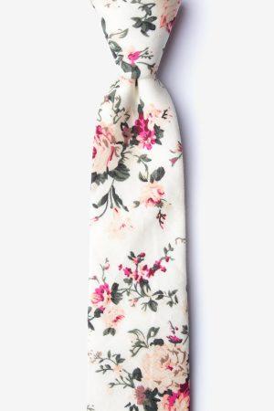 nyakkendő_fehér_mintás_virágos_pamut