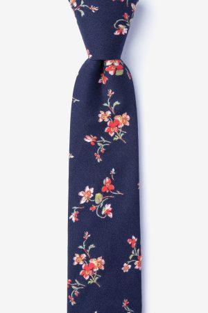 nyakkendő_kék_mintás_virágos_pamut