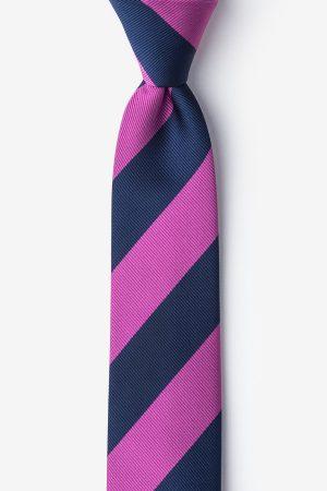 nyakkendő_kék_rózsazsín_csíkos_microfiber