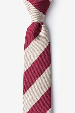 nyakkendő_piros_bordó_bézs_csíkos_microfiber