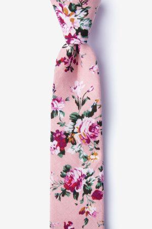 nyakkendő_rószaszín_mintás_virágos_pamut