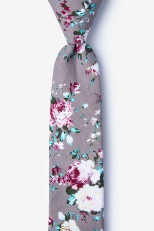 nyakkendő_szürke_mintás_virágos_pamut