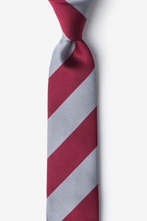 nyakkendő_szürke_piros_bordó_csíkos_microfiber