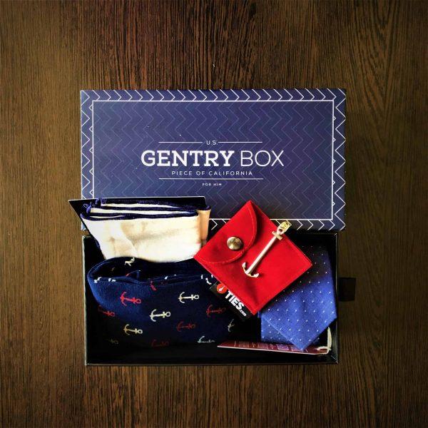 nyakkendő szett_kék-fehér_Gentry Box