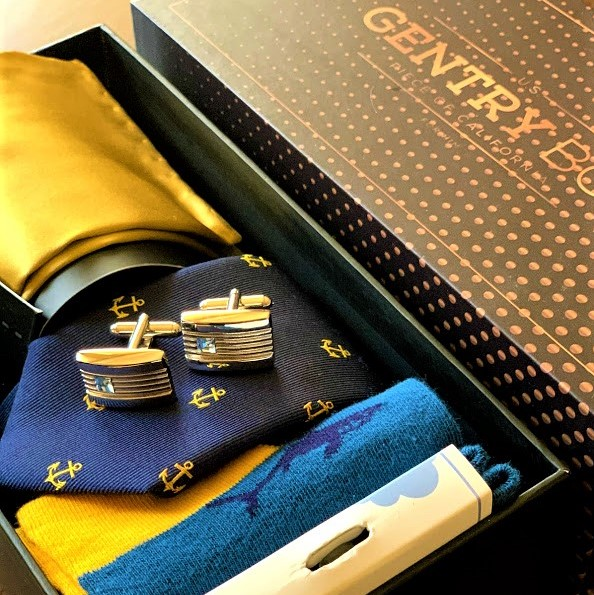 nyakkendő szett_kék-sárga_Gentry Box
